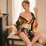 Japanese Styles Sexy Hot Satin Silk Sleepwear Ladies Sleep Wear Floral Print Sleeping Clothing Loose Housewear 62KG Wearable