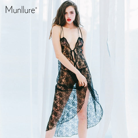 Munllure 2019 New Arrival Summer Sexy Embroidery Women Nightie Female Lounge Set Nightwear Lace Bath Robe for Lady Nigtht Suit