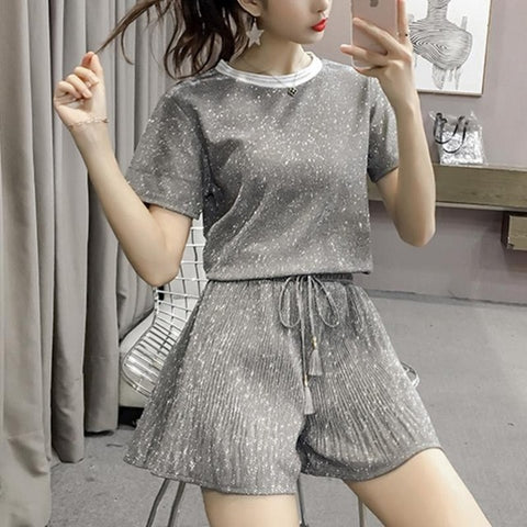 2019 Summer Casual Women Two Piece Set Fashion Bright Tops + High Waist Wide Leg Shorts Top Female Office Suit Set Women