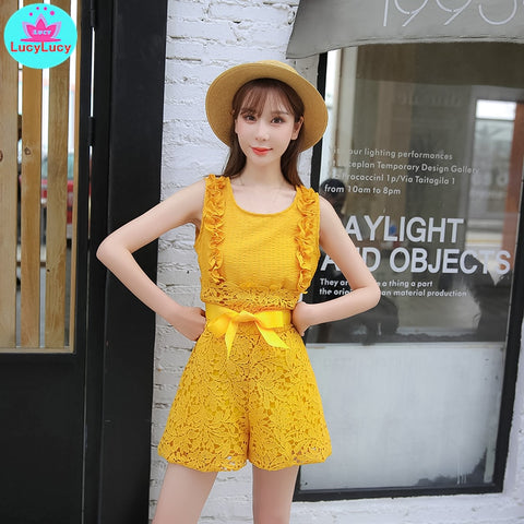 2019 new lace high waist flower wide leg pants suit vest foreign shorts net red two-piece