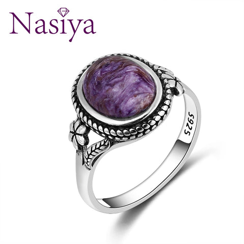 Nasiya Vintage Bohemia Style 8x10MM Oval Purple Charoite Rings For Women 925 Silver Ring Anniversary Party Gift Fine Jewelry