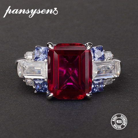 PANSYSEN New Charms 8x10mm Natural Ruby Gemstone Rings for women Luxury Wedding 100% 925 Sterling Silver Jewelry Ring Size 5-12