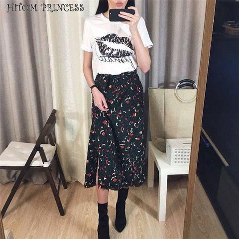 HITOM PRINCESS Women 2 Pieces Set Lip Print T Shirt and Leopard Long Skirt Sets Two Pieces Outfits Streetwear High Waist Skirts