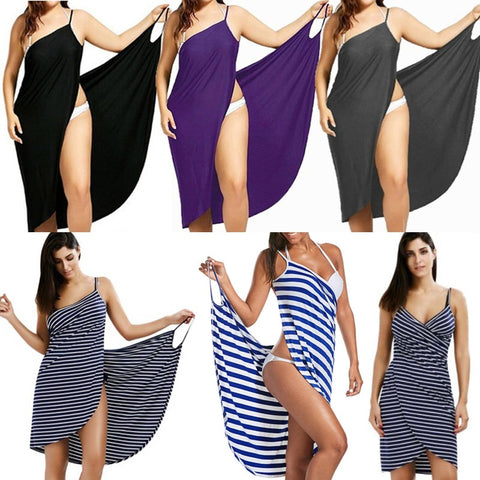 2019 Summer  Women Sexy Beach V-Neck Sling Dress Towel Backless Swimwear Cover Up Warp Femme Tropical Dresses Plus Size Vestido