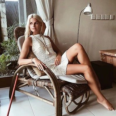 Women Swimwear Bathing Suit Dresses Knitted Beige Sleeveless One Piece Dress Crochet Beach Dress Clothing