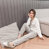 Winter Pyjamas Women Polyester Full Trousers Lady Two Piece Pajama Set Cartoon Flannel Female Home Clothing Women's Pajamas Sets