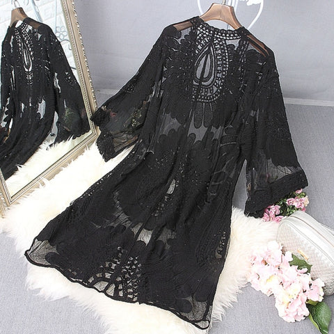 1Pc Women Beach Cover Up Floral Embroidery Swimwear Women Robe Cardigan BathingSuit