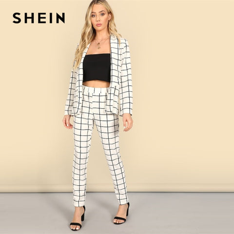 SHEIN White Shawl Collar Grid Plaid Cigarette Blazer And Pants Set Long Sleeve Co-Ord Women Spring Elegant Workwear Twopiece