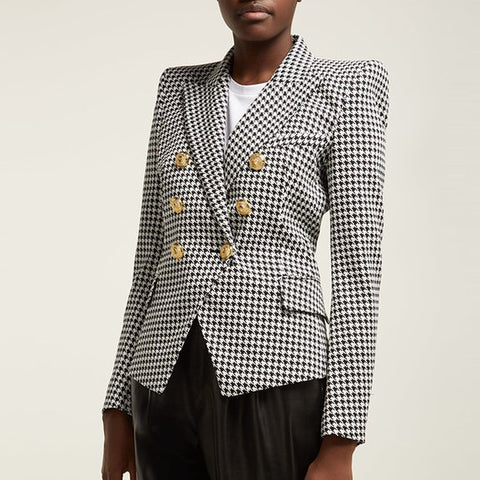 HIGH STREET Stylish 2019 Runway Blazer Women's Double Breasted Lion Buttons Houndstooth Career Blazer Jacket