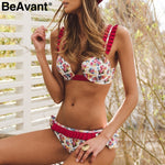 BeAvant Floral print summer beachwear 2 piece set Women ruffle strap sexy bodysuit Swimwear playsuit female jumpsuit rompers