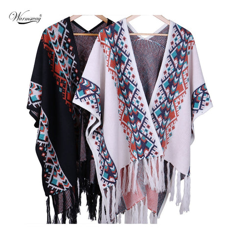 2019 New Brand Winter Autumn Women tassel Knited Shawl Cape Lady Elegant Casual Vintage Poncho Scarf Pashmina Hot Sale  C-025
