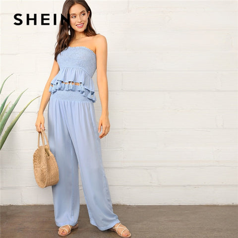 SHEIN Blue Tassel Hem Smocked Tube Top And Palazzo Pants Women Two Piece Outfits Summer Vacation Crop Bandeau Two Piece Set