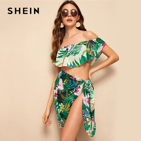 SHEIN Boho Multicolor Off Shoulder Foldover Tropical Crop Top and Tie Skirt Set Women Beach Style Vacation Sexy Two Piece Set