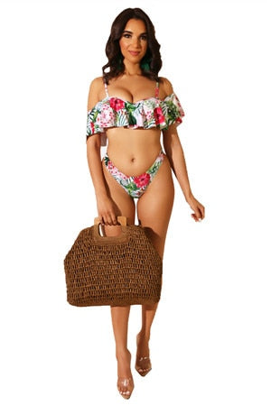 Adogirl sexy slash neck red flower two pieces swim wears sexy green leaf beach bathing suits spaghetti strap lady sets