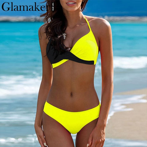 Glamaker Two piece set sexy black bodysuit Women halter backless beach swimsuit Female bodycon elegant summer swimwear bodysuit