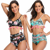 Womens Push Up Padded Bra Set High Waisted Swim Suit Bathing Suit Swimwear Ladies Flower Tassel Beach Wear Female Suits