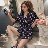 2019 Summer Women's Pajamas Sets with Flower Print Fashion Luxury Female Faux Silk Two Pieces Shirts + Pants Nighties Sleepwear