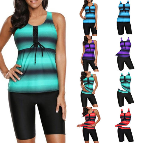 Women Ladies Plus Size Two Piece Bikini Swim Wear  Bandage Hollow Out Tank Tops & Shorts Swimming Suits Beach  Wear New M-4XL