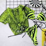 JillPeri Women Summer 3 Piece Set Swimming Suit Sexy Lace Up Adjustable Bottom and Crop Top Bra 3 Piece Pool Beach Wear Bikini