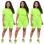 HAOYUAN Neon 2 Piece Set Women Tracksuit Festival Clothing Crop Top and Biker Shorts Sexy Club Outfits Two Piece Matching Sets