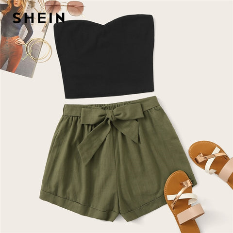 SHEIN Solid Tube Top And Belted Shorts Set 2019 Casual Summer Strapless Sleeveless Bandeau Straight Women Two Piece Set