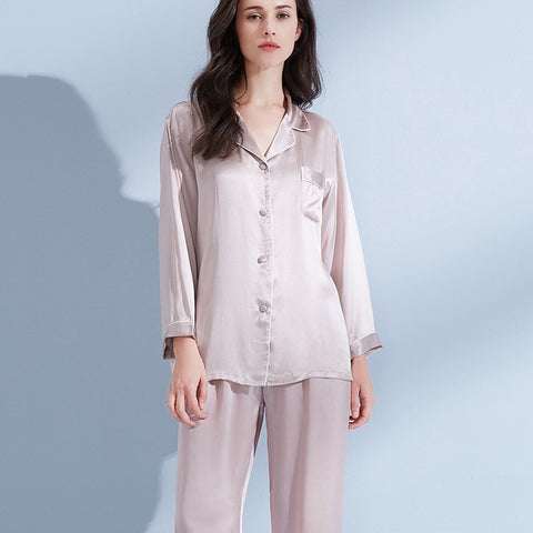 Women 19 m/m Real Silk Pajamas Set 2019 Solid Nightgown Pyjama Femme Sleep Lounge Bedgown Silk Girls 100% Silk Sleepwear Suits