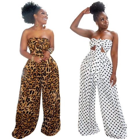 Summer Sexy 2 Piece Outfits for Women Fashion Dot Leopard Print V-neck Wrapped Chest Top Loose Wide Leg Pants Sets Plus Size