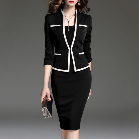Women Suits Bodycon Dress Jacket 2 Pieces Set Office Wear Jacket And Dress 2019 Spring Autumn Female Dresses Suits Plus Size 6XL