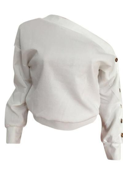 Plain Long Sleeve One Shoulder Sweatshirt Top With Buttons