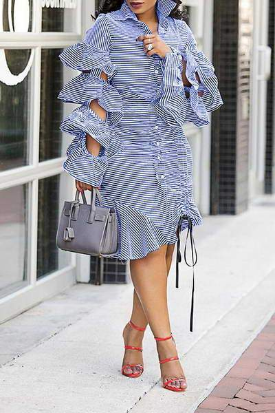 Pinstripe Ruffle Dress