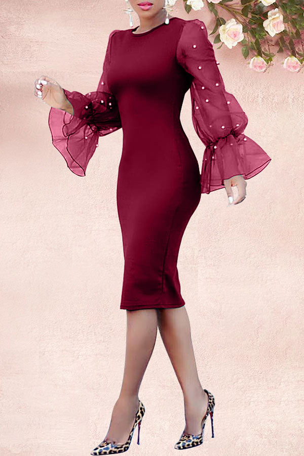 organza Horn sleeve wrapped hip sexy dress
