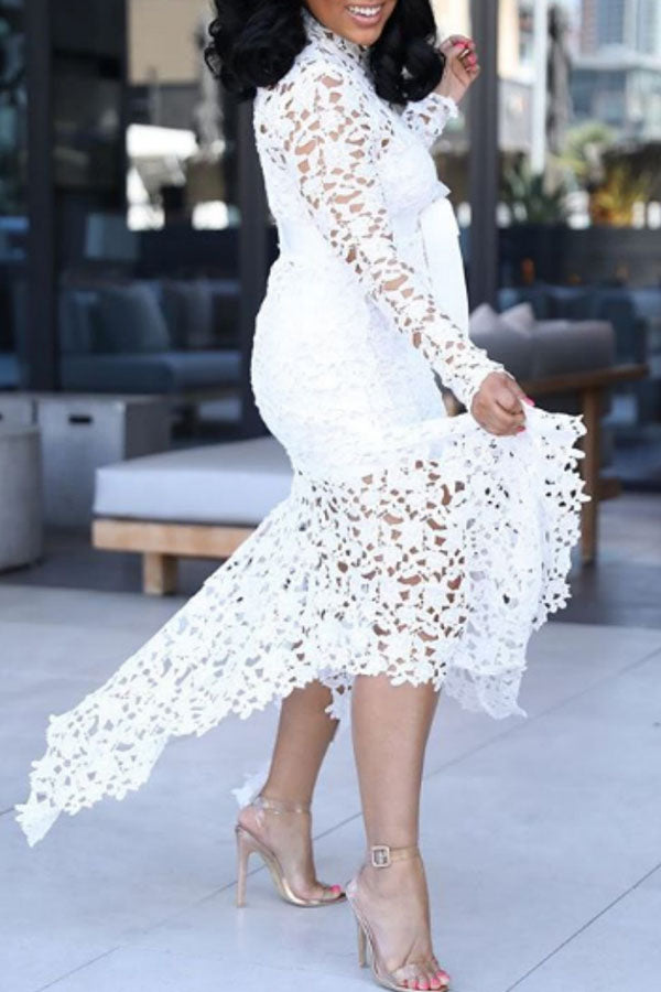 Sexy Long-sleeved Perspective Lace Dress