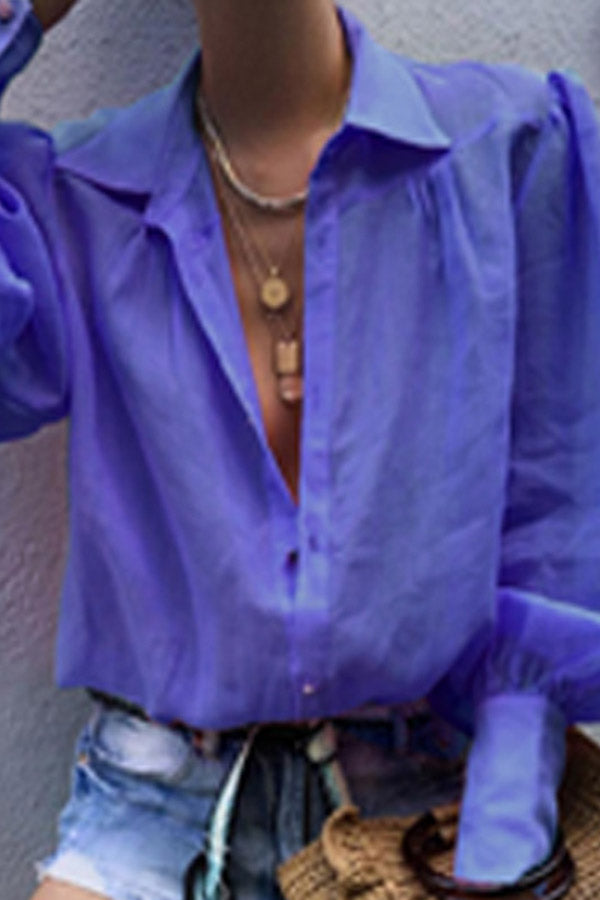Solid Colour Loose Lantern Sleeves Shirt