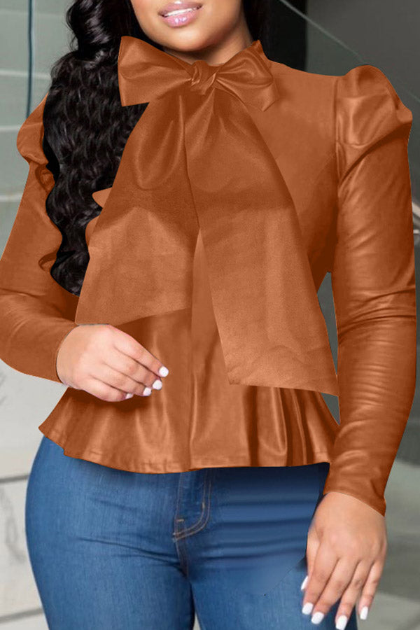 High Collar Long Sleeve Leather Top
