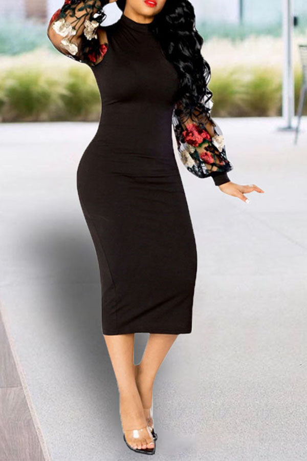 Floral Embroidery Puff Sleeve Dress