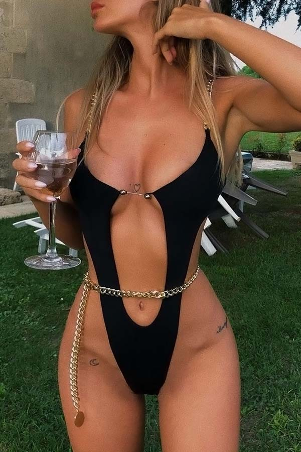 Solid Color Cut Out Chain Swimsuit
