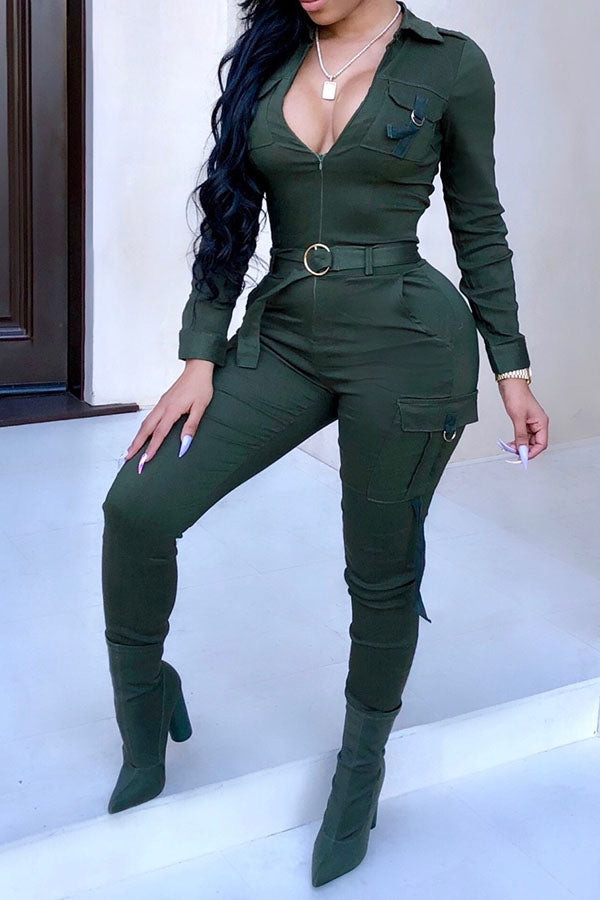 Solid Color Pocket Belt Jumpsuit