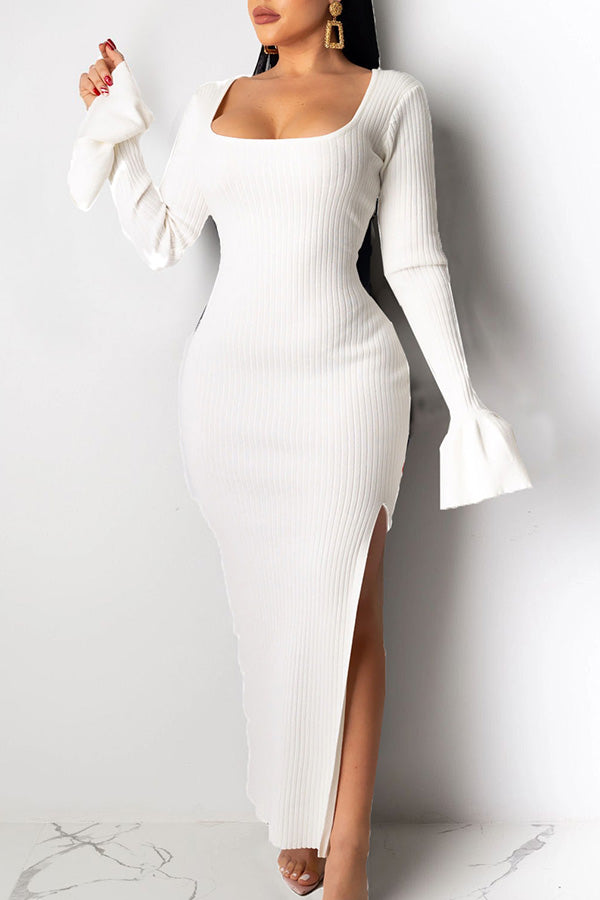 Solid Color U-Neck Flared Sleeve Slit Dress