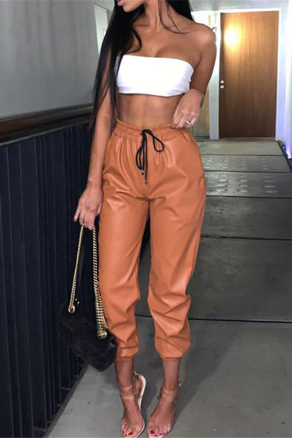 Drawstring Lace Up Leather Pants