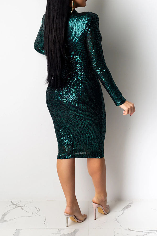 Solid Color Sequin Hip Skirt