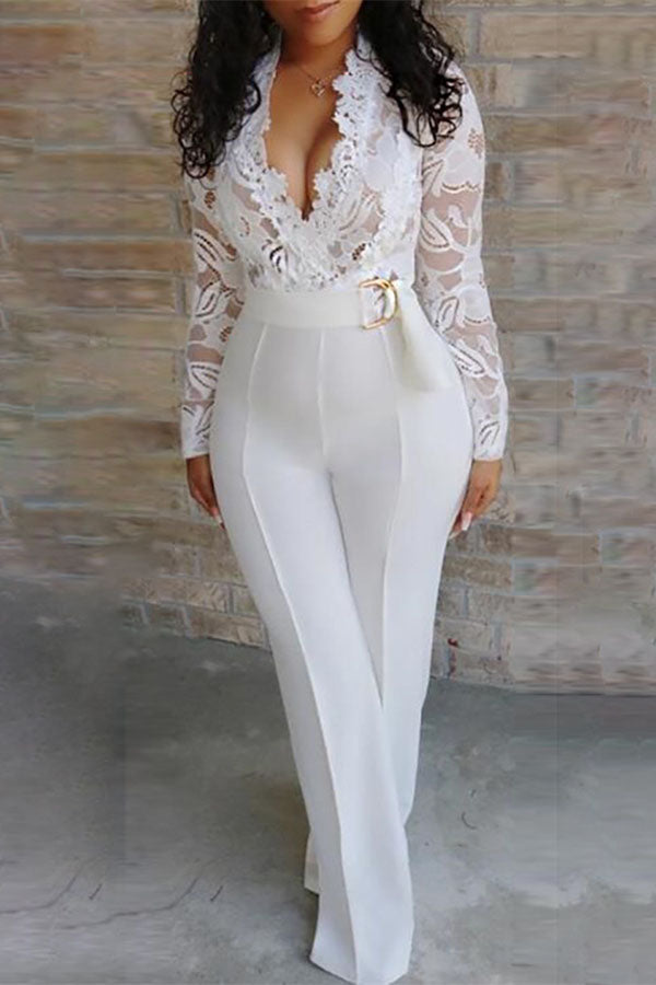V-Neck Lace Splicing Sheer Jumpsuit
