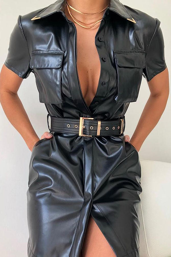 Solid Color Short Sleeve Leather Dress