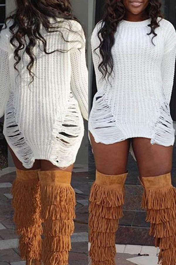 Long Sleeve Knitted Long Fringe Sweater