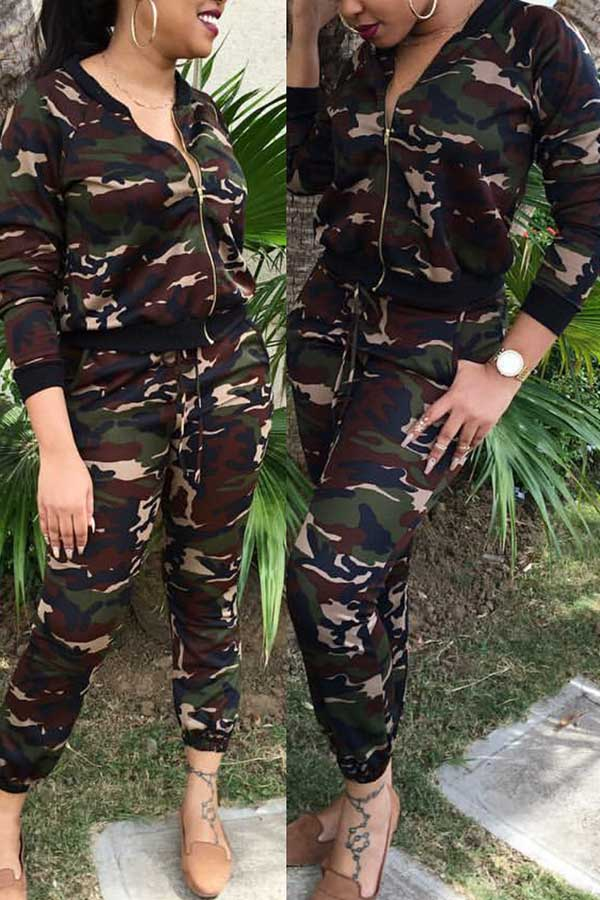 Camouflage Printed Zipper Two Piece Set