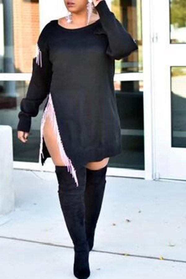 Long Sleeve Loose Fringe Dress