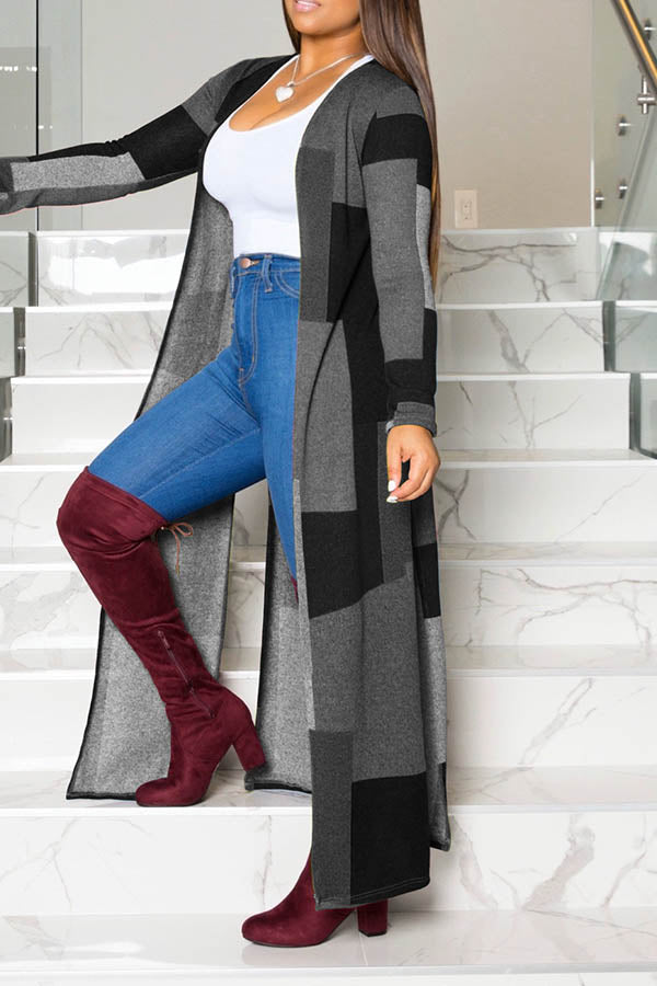 Printed Collision Color Long Coat