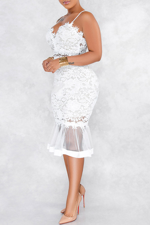 Lace Fishtail Perspective Strap Dress