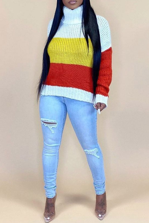High Collar Collision Color Sweater(Without Hat)