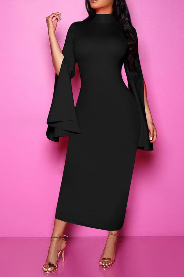 Irregular Solid Color Flare Sleeve Dress