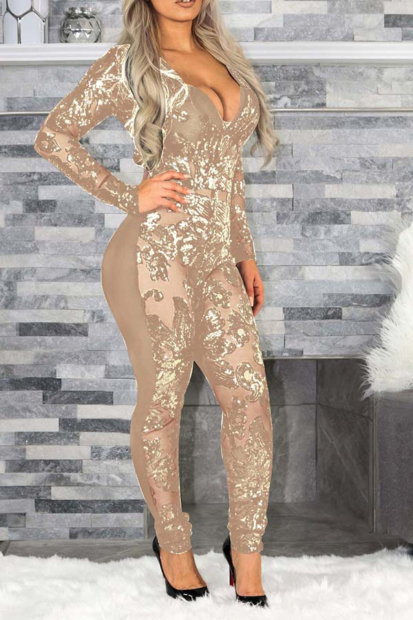 Deep V-Neck Sequin Splicing Jumpsuit
